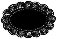 couvre-tapis de place noir ovale de napperon de lacet de +EPS, bordure de lame Images stock