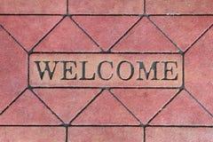 Couvre-tapis de signe bienvenu Images libres de droits