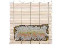 Couvre-tapis en bambou pour faire cuire des sushi Photographie stock