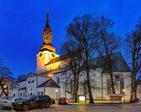 Couvrez d'un dôme l'église à Tallinn à l'aube, Estonie Photographie stock libre de droits