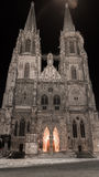 Couvrez d'un dôme St Peter en Bavière de Ratisbonne la nuit hiver photos stock