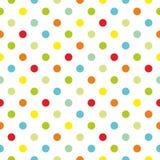 Couvrez de tuiles le modèle coloré de vecteur de points de polka avec le fond blanc Image stock