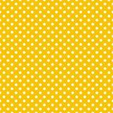 Couvrez de tuiles le modèle de vecteur avec les points de polka blancs sur le fond jaune Photographie stock