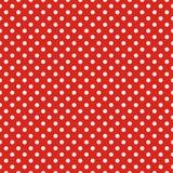 Couvrez de tuiles le modèle de vecteur avec les points de polka blancs sur le fond rouge Image libre de droits
