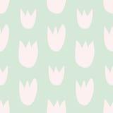 Couvrez de tuiles le modèle floral de vecteur avec les tulipes roses tirées par la main sur le fond vert Images libres de droits