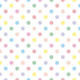 Couvrez de tuiles le modèle de vecteur avec les points de polka en pastel sur le fond blanc Photos libres de droits