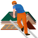 Couvrez la maison de réparation de travailleur de la construction, maison de tuile de dessus de toit de fixation de structure de  Image libre de droits