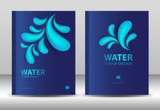 Couvrez le vecteur de calibre de conception pour des affaires de l'eau, rapport annuel, calibre d'insecte de brochure, publicité, Photographie stock