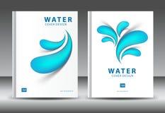 Couvrez le vecteur de calibre de conception pour des affaires de l'eau, rapport annuel, calibre d'insecte de brochure, publicité, Photos stock
