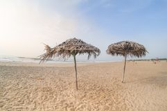 Couvrez les parapluies de chaume sur la plage de paradis dans Chennai pondicherry Photo libre de droits