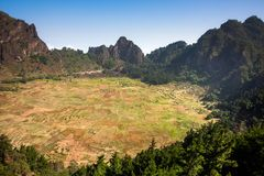 Cova Crater. Village in extinct volcano. Santo Antao stock photo