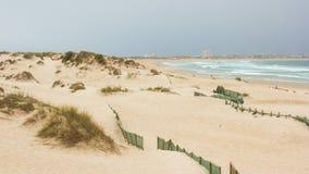 Cova da Alfarroba strand, gamla och skyddade dyn och Peniche i horisonten, Portugal Arkivfoton