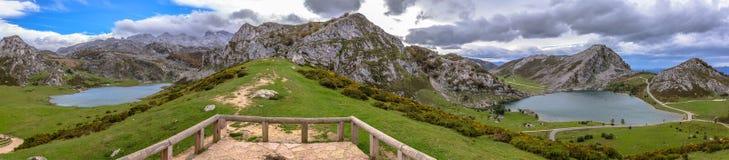 Covadonga Lakes Panoramic Stock Photo
