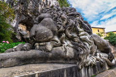 Covadonga Lion Sculpture Stockfoto