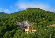 Covadonga Santa Cueva a Catholic sanctuary cave in Asturias stock photography