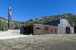 Modern wooden and metallic chapel. San Olav. Covarrubias, Burgos Stock Images