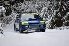 COVASNA, ROMÊNIA - 16 de janeiro: Os pilotos desconhecidos que competem no inverno reagrupam Covasna 2016 o 16 de janeiro, em Cov Imagens de Stock