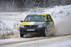COVASNA, ROMANIA - January 16: Unknown pilots competing in Winter Rally Covasna 2016 on January 16,. In Covasna, Romanaia Royalty Free Stock Photography