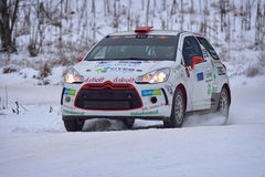 COVASNA, ROMANIA - January 16: Unknown pilots competing in Winter Rally Covasna 2016. On January 16, in Covasna, Romanaia Royalty Free Stock Image
