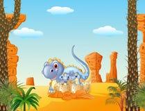 Covata dei dinosauri del dinosauro e del bambino della mamma del fumetto Fotografie Stock