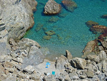 Cove and blue water. Mediterranean cove with crystalline water in Banyuls sur Mer Stock Photo