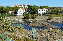 Cove in the Mediterranean village of Cadaques Royalty Free Stock Photo