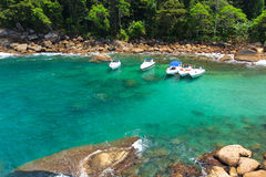 The cove of hidden beach Caxadaço, Ilha Grande, Brazil Stock Photo