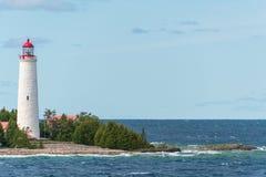 Cove Island Lighthouse Tobermory, Bruce Peninsula Landscape. Along lake shore stock image