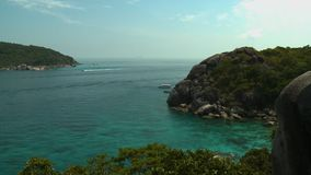Cove of Koh Similan Island. Steady, wide shot of a cove of Koh Similan Island stock footage