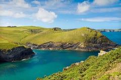Cove near Port Quin, Cornwall, UK. Cove near Port Quin with deep blue sea, Cornwall with deep blue see, UK Royalty Free Stock Photography