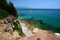 Cove near Votsalakia beach. Samos island. Greece Stock Photos