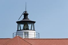 Cove Point Lighthouse Cupola. As seen from behind lighthouse keeper's house in Cove Point, Maryland USA royalty free stock photo
