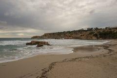 Cove in San Antonio de Ibiza a cloudy day. Spain royalty free stock photography