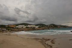 Cove in San Antonio de Ibiza a cloudy day. Spain stock images