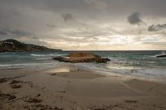 Cove in San Antonio de Ibiza a cloudy day. Spain stock photos