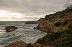 Cove in San Antonio de Ibiza a cloudy day. Spain royalty free stock image