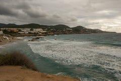 Cove in San Antonio de Ibiza a cloudy day. Spain royalty free stock photo