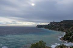 Cove in San Antonio de Ibiza a cloudy day. Spain stock photo