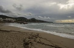 Cove in San Antonio de Ibiza a cloudy day. Spain royalty free stock images