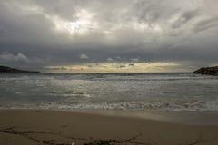Cove in San Antonio de Ibiza a cloudy day. Spain stock image