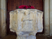 COVEHITHE, SUFFOLK/UK - MAY 24 : Medieval Font in St Andrew`s Co stock images