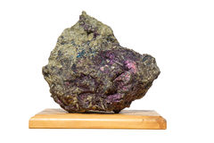 Covellite mineral on the wooden table Stock Photography