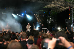 Covenant - Amphi festival. Audience listening to the live performance of the swedish industrial band Covenant royalty free stock photo