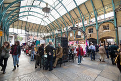Covent Garden. LONDON, UNITED KINGDOM - JUNE 5,  2014: Apple Market, the neo-classical market building is at the heart of Covent Garden, originally a fruit and Royalty Free Stock Image