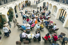 Covent Garden. LONDON, UNITED KINGDOM - JUNE 5,  2014: Inside London Covent Garden marked, view from above at lunch time, people eating in multiple restaurants Stock Photo