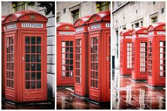 Covent Garden phone boxes triptych. A retro styled triptych collage of British red phone boxes in a row, in Covent garden after the rain Royalty Free Stock Images