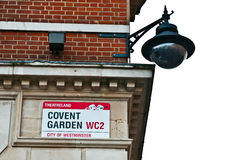 Covent Garden Sign. On a building in London, England (isolated on white background Royalty Free Stock Images