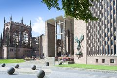 Coventry Cathedral New and Old royalty free stock images