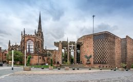 Coventry Cathedral. Is the new St Michael`s Cathedral, built after the destruction original in world war II stock photo