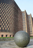 Coventry Cathedral. Side view of the new part of Coventry Cathedral with ball in foreground Royalty Free Stock Photos